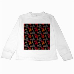 Leaves Pattern Background Kids Long Sleeve T-Shirts