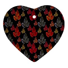 Leaves Pattern Background Heart Ornament (two Sides)