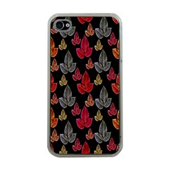 Leaves Pattern Background Apple Iphone 4 Case (clear)