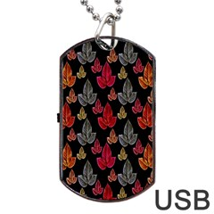 Leaves Pattern Background Dog Tag USB Flash (Two Sides)