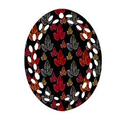Leaves Pattern Background Oval Filigree Ornament (Two Sides)