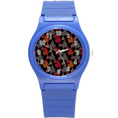 Leaves Pattern Background Round Plastic Sport Watch (S)