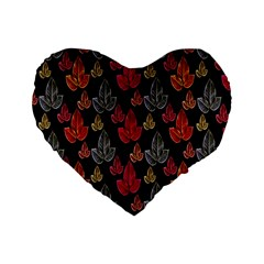 Leaves Pattern Background Standard 16  Premium Heart Shape Cushions
