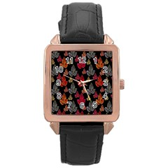 Leaves Pattern Background Rose Gold Leather Watch