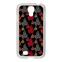Leaves Pattern Background Samsung GALAXY S4 I9500/ I9505 Case (White)