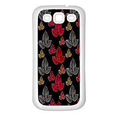 Leaves Pattern Background Samsung Galaxy S3 Back Case (White)