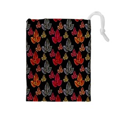 Leaves Pattern Background Drawstring Pouches (Large)
