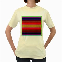 Fiestal Stripe Bright Colorful Neon Stripes Background Women s Yellow T Shirt