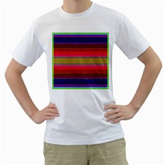 Fiestal Stripe Bright Colorful Neon Stripes Background Men s T Shirt (white) (two Sided)
