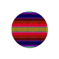 Fiestal Stripe Bright Colorful Neon Stripes Background Rubber Round Coaster (4 pack)