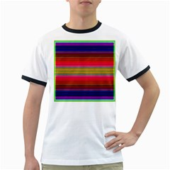 Fiestal Stripe Bright Colorful Neon Stripes Background Ringer T-Shirts