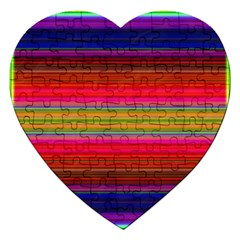 Fiestal Stripe Bright Colorful Neon Stripes Background Jigsaw Puzzle (heart)