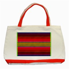 Fiestal Stripe Bright Colorful Neon Stripes Background Classic Tote Bag (Red)