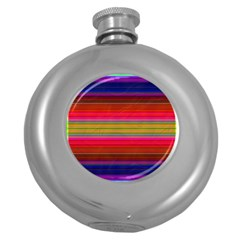 Fiestal Stripe Bright Colorful Neon Stripes Background Round Hip Flask (5 oz)