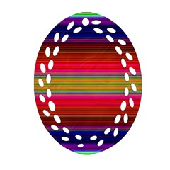 Fiestal Stripe Bright Colorful Neon Stripes Background Oval Filigree Ornament (Two Sides)