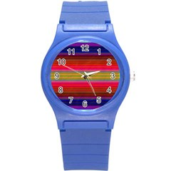 Fiestal Stripe Bright Colorful Neon Stripes Background Round Plastic Sport Watch (S)