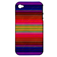 Fiestal Stripe Bright Colorful Neon Stripes Background Apple iPhone 4/4S Hardshell Case (PC+Silicone)
