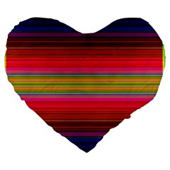 Fiestal Stripe Bright Colorful Neon Stripes Background Large 19  Premium Heart Shape Cushions