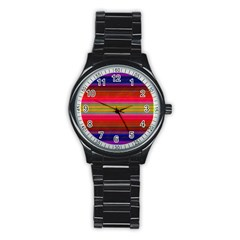 Fiestal Stripe Bright Colorful Neon Stripes Background Stainless Steel Round Watch