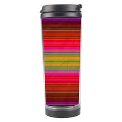Fiestal Stripe Bright Colorful Neon Stripes Background Travel Tumbler