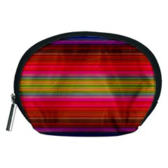 Fiestal Stripe Bright Colorful Neon Stripes Background Accessory Pouches (Medium)