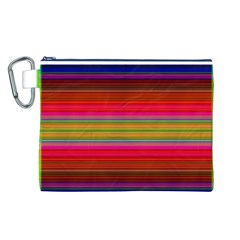 Fiestal Stripe Bright Colorful Neon Stripes Background Canvas Cosmetic Bag (L)