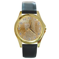 Texture Of Ceramic Tile Round Gold Metal Watch