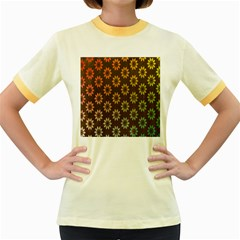 Grunge Brown Flower Background Pattern Women s Fitted Ringer T Shirts