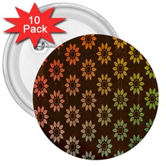 Grunge Brown Flower Background Pattern 3  Buttons (10 Pack)