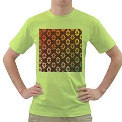 Grunge Brown Flower Background Pattern Green T-Shirt