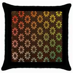 Grunge Brown Flower Background Pattern Throw Pillow Case (black)