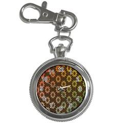 Grunge Brown Flower Background Pattern Key Chain Watches