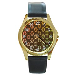 Grunge Brown Flower Background Pattern Round Gold Metal Watch