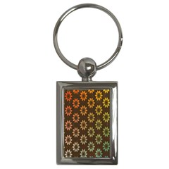 Grunge Brown Flower Background Pattern Key Chains (Rectangle)