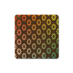 Grunge Brown Flower Background Pattern Square Magnet
