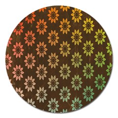 Grunge Brown Flower Background Pattern Magnet 5  (round)