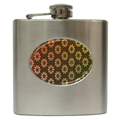 Grunge Brown Flower Background Pattern Hip Flask (6 oz)