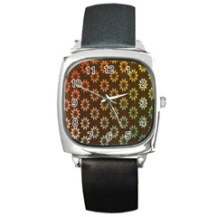 Grunge Brown Flower Background Pattern Square Metal Watch