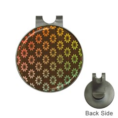 Grunge Brown Flower Background Pattern Hat Clips With Golf Markers