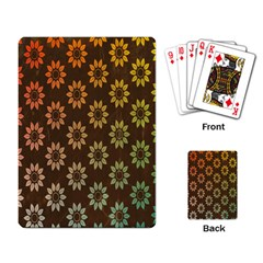 Grunge Brown Flower Background Pattern Playing Card