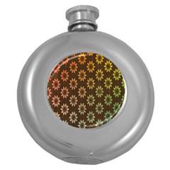 Grunge Brown Flower Background Pattern Round Hip Flask (5 Oz)