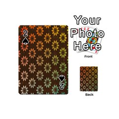 Grunge Brown Flower Background Pattern Playing Cards 54 (mini)