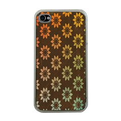 Grunge Brown Flower Background Pattern Apple Iphone 4 Case (clear)