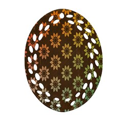 Grunge Brown Flower Background Pattern Oval Filigree Ornament (Two Sides)