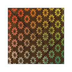 Grunge Brown Flower Background Pattern Acrylic Tangram Puzzle (6  x 6 )