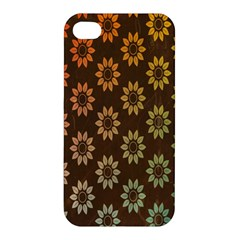 Grunge Brown Flower Background Pattern Apple iPhone 4/4S Premium Hardshell Case