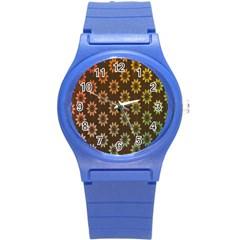 Grunge Brown Flower Background Pattern Round Plastic Sport Watch (s)