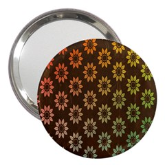 Grunge Brown Flower Background Pattern 3  Handbag Mirrors