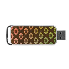 Grunge Brown Flower Background Pattern Portable USB Flash (Two Sides)