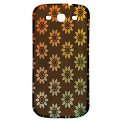 Grunge Brown Flower Background Pattern Samsung Galaxy S3 S III Classic Hardshell Back Case